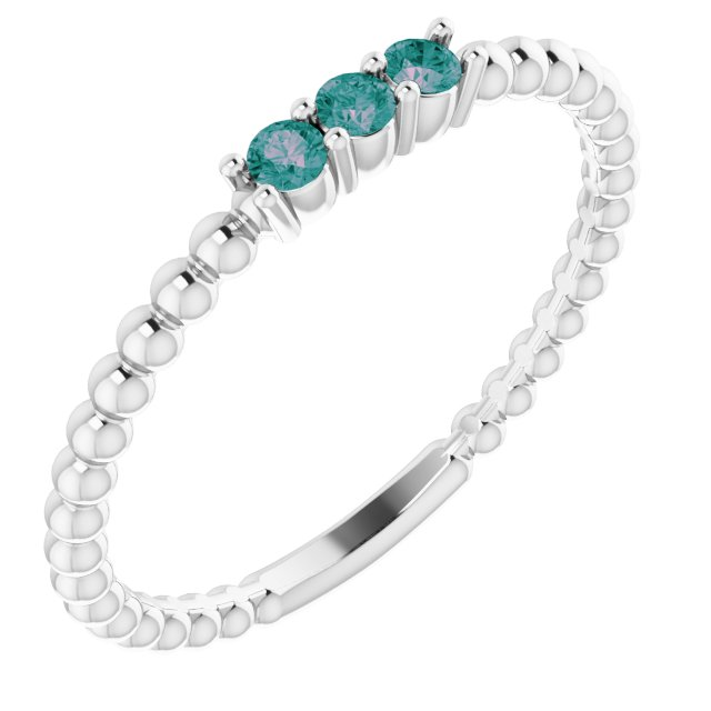 Chatham Created Alexandrite Ring in 14 Karat White Gold ChathamLab-Created Alexandrite Beaded Ring