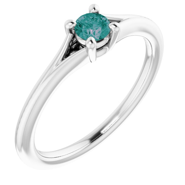 Chatham Created Alexandrite Ring in 14 Karat White Gold Chatham Lab-Created Alexandrite Youth Solitaire Ring