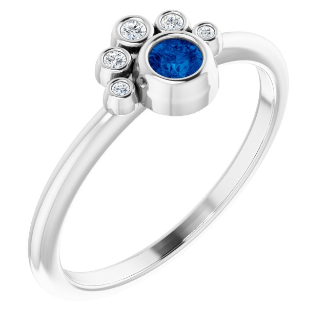 Genuine Chatham Created Sapphire Ring in 14 Karat White Gold Chatham Lab-Created Genuine Sapphire & .04 Carat Diamond Ring