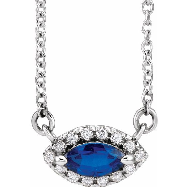 Genuine Chatham Created Sapphire Necklace in 14 Karat White Gold Chatham Lab-Created Genuine Sapphire & .05 Carat Diamond Halo-Style 18