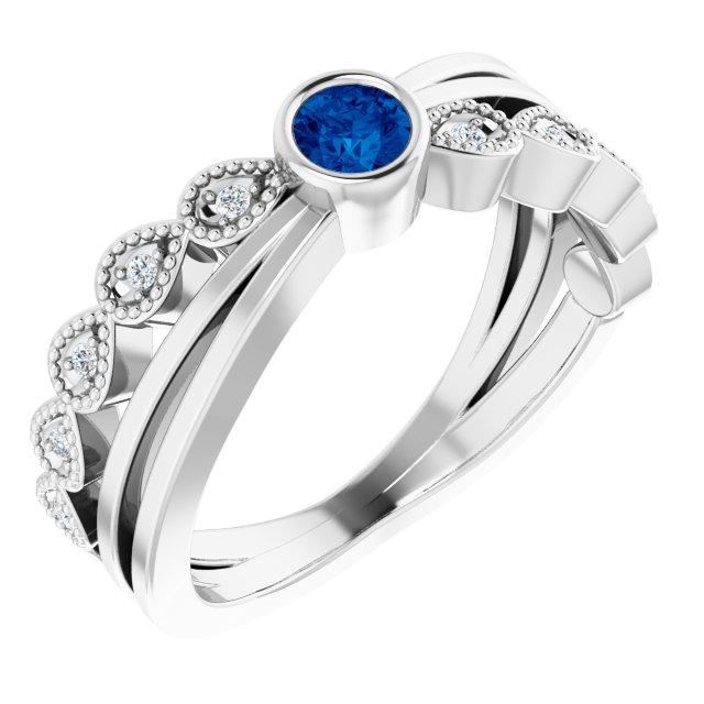 Genuine Chatham Created Sapphire Ring in 14 Karat White Gold Chatham Lab-Created Genuine Sapphire & .05 Carat Diamond Ring