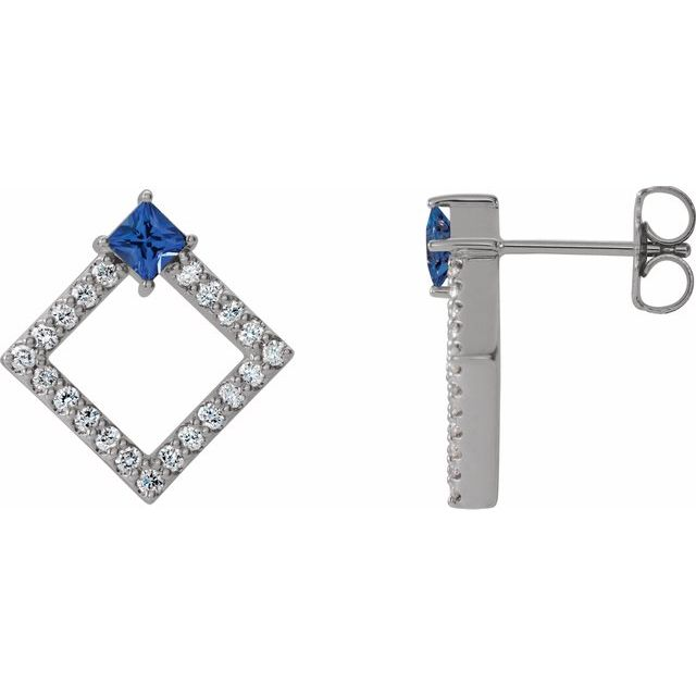 Created Sapphire Earrings in 14 Karat White Gold Chatham Lab-Created Genuine Sapphire & 1/3 Carat Diamond Earrings