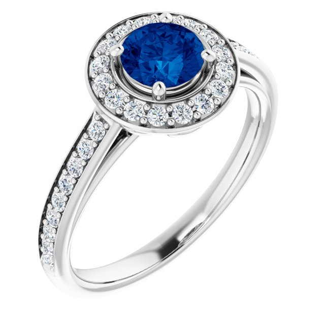 Genuine Chatham Created Sapphire Ring in 14 Karat White Gold Chatham Lab-Created Genuine Sapphire & 1/3 Carat Diamond Ring