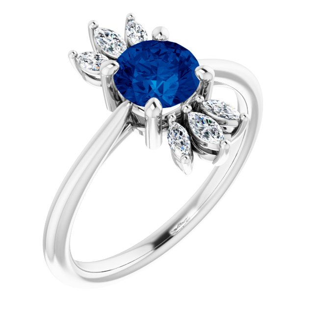 Genuine Chatham Created Sapphire Ring in 14 Karat White Gold Chatham Lab-Created Genuine Sapphire & 1/4 Carat Diamond Ring