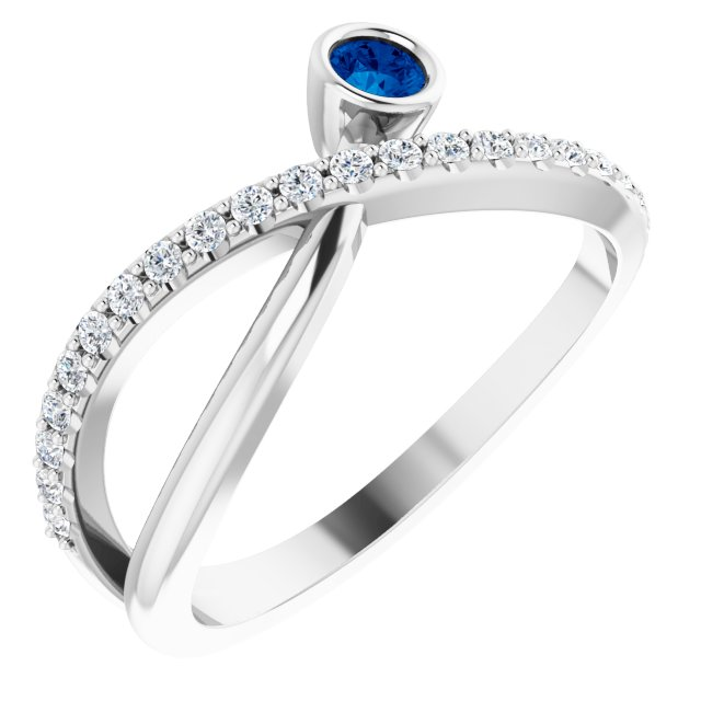 Genuine Chatham Created Sapphire Ring in 14 Karat White Gold Chatham Lab-Created Genuine Sapphire & 1/5 Carat Diamond Ring