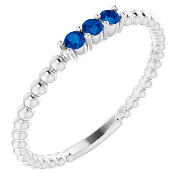 Genuine Chatham Created Sapphire Ring in 14 Karat White Gold ChathamLab-Created Genuine Sapphire Beaded Ring