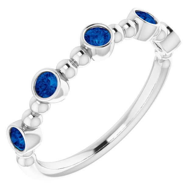Genuine Chatham Created Sapphire Ring in 14 Karat White Gold Chatham Lab-Created Genuine Sapphire Stackable Beaded Ring