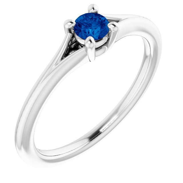 Genuine Chatham Created Sapphire Ring in 14 Karat White Gold Chatham Lab-Created Genuine Sapphire Youth Solitaire Ring