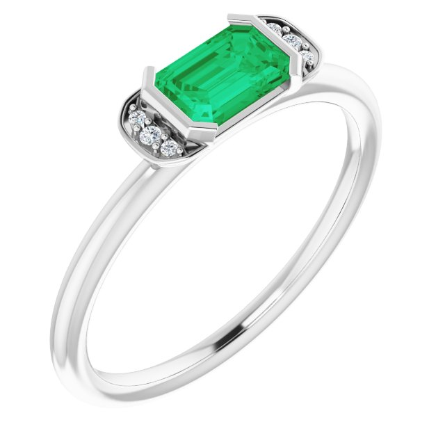 Genuine Chatham Created Emerald Ring in 14 Karat White Gold Chatham Lab-Created Emerald & .02 Carat Diamond Ring