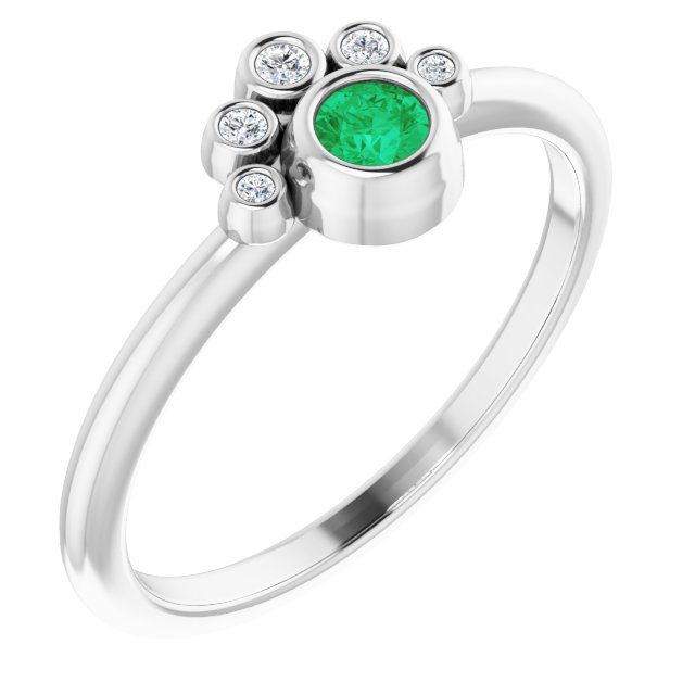 Genuine Chatham Created Emerald Ring in 14 Karat White Gold Chatham Lab-Created Emerald & .04 Carat Diamond Ring