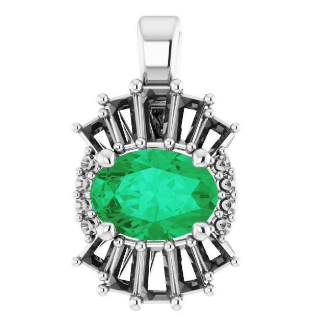 Chatham Created Emerald Pendant in 14 Karat White Gold Chatham Lab-Created Emerald & 1/3 Carat Diamond Pendant