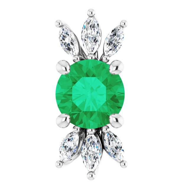 Chatham Created Emerald Pendant in 14 Karat White Gold Chatham Lab-Created Emerald & 1/4 Carat Diamond 16-18