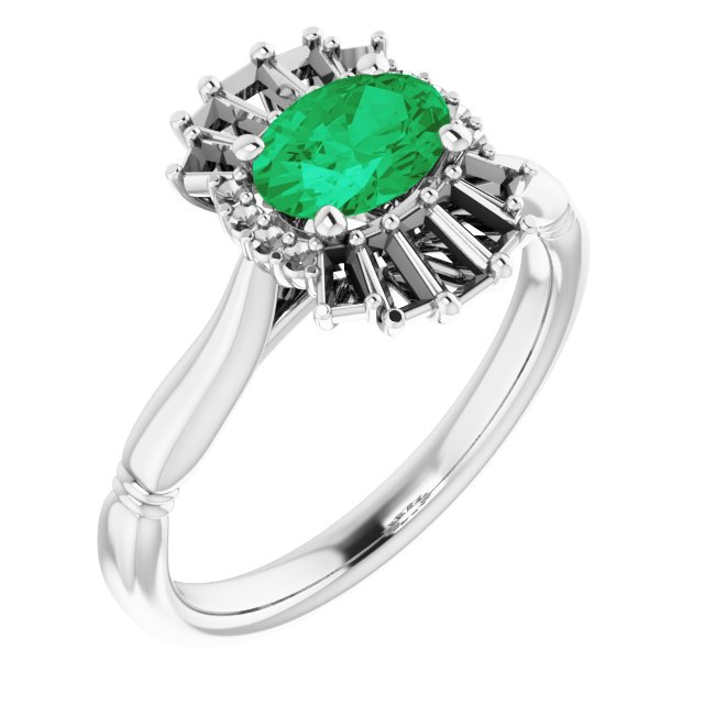 Genuine Chatham Created Emerald Ring in 14 Karat White Gold Chatham Lab-Created Emerald & 1/4 Carat Diamond Ring