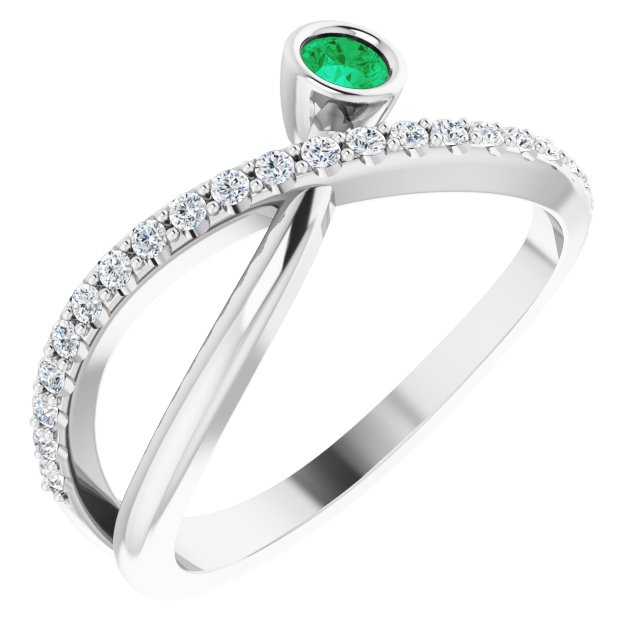 Genuine Chatham Created Emerald Ring in 14 Karat White Gold Chatham Lab-Created Emerald & 1/5 Carat Diamond Ring