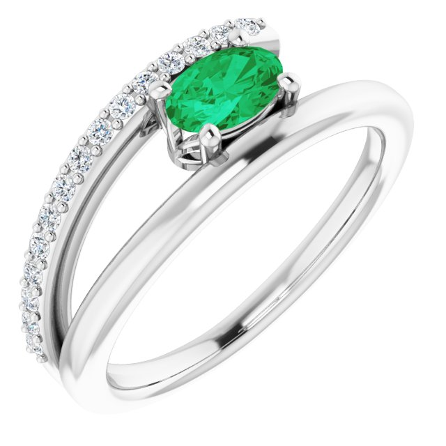 Genuine Chatham Created Emerald Ring in 14 Karat White Gold Chatham Lab-Created Emerald & 1/8 Carat Diamond Ring