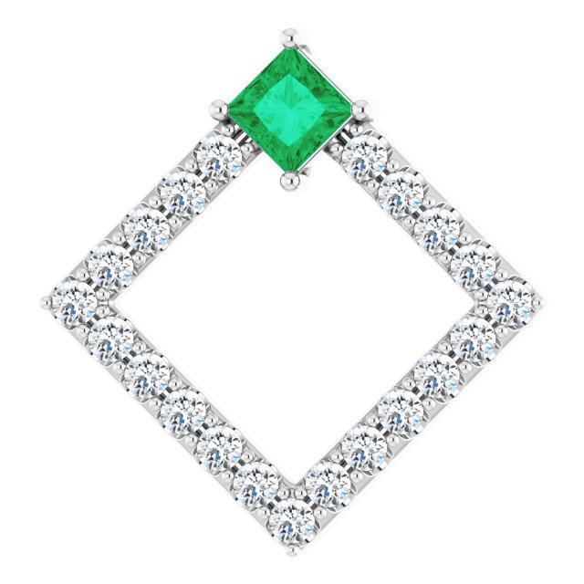 Chatham Created Emerald Pendant in 14 Karat White Gold Chatham Lab-Created Emerald & 3/8 Carat Diamond Pendant