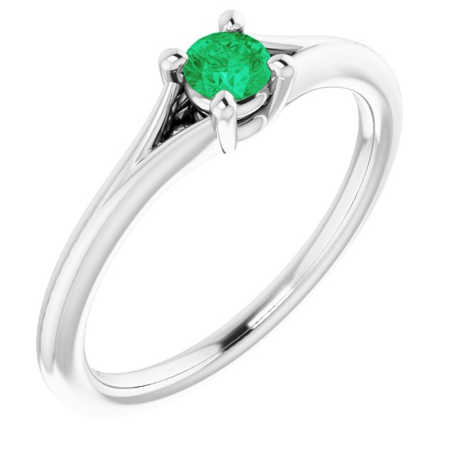 Genuine Chatham Created Emerald Ring in 14 Karat White Gold Chatham Lab-Created Emerald Youth Solitaire Ring