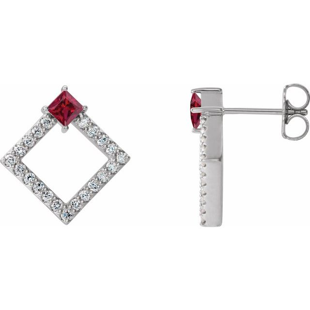 Chatham Created Ruby Earrings in 14 Karat White Gold Chatham Lab-Created Ruby & 1/3 Carat Diamond Earrings
