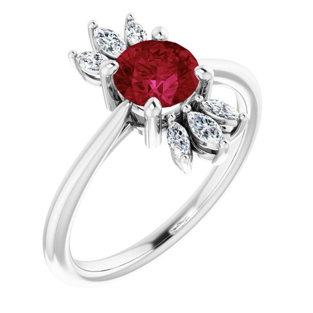 Chatham Created Ruby Ring in 14 Karat White Gold Chatham Lab-Created Ruby & 1/4 Carat Diamond Ring