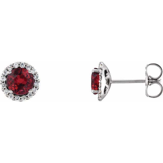 Chatham Created Ruby Earrings in 14 Karat White Gold Chatham Lab-Created Ruby & 1/6 Carat Diamond Earrings