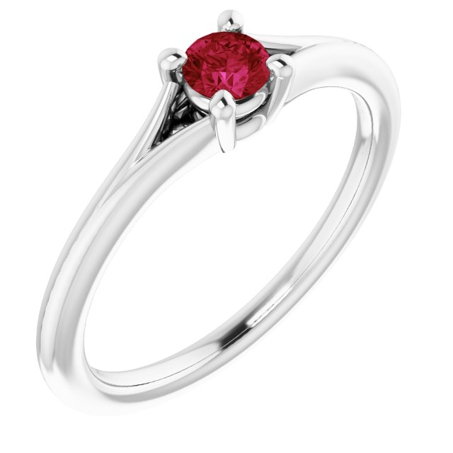 Chatham Created Ruby Ring in 14 Karat White Gold Chatham Lab-Created Ruby Youth Solitaire Ring