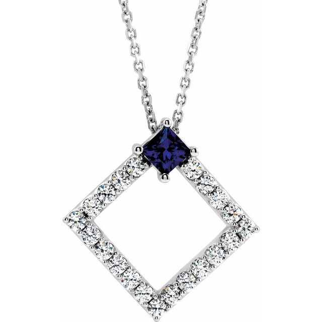 Genuine Chatham Created Sapphire Necklace in 14 Karat White Gold Chatham Lab-Created Sapphire & 3/8 Carat Diamond 16-18