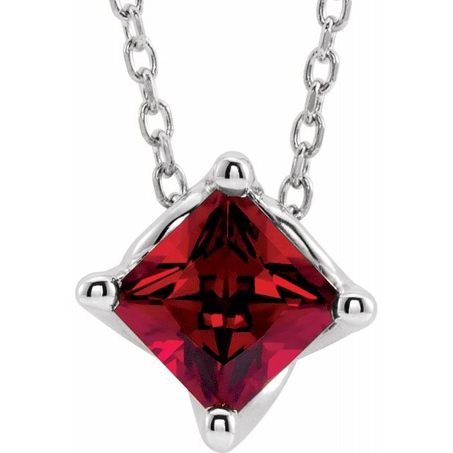 Genuine Ruby Necklace in 14 Karat White Gold Chatham Lab-Ruby Solitaire 16-18