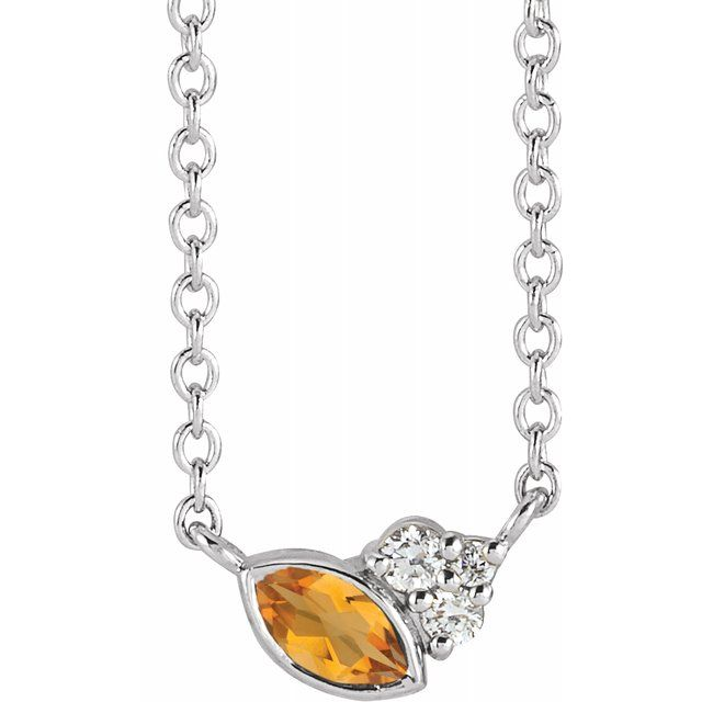 Golden Citrine Necklace in 14 Karat White Gold Citrine & .03 Carat Diamond 16