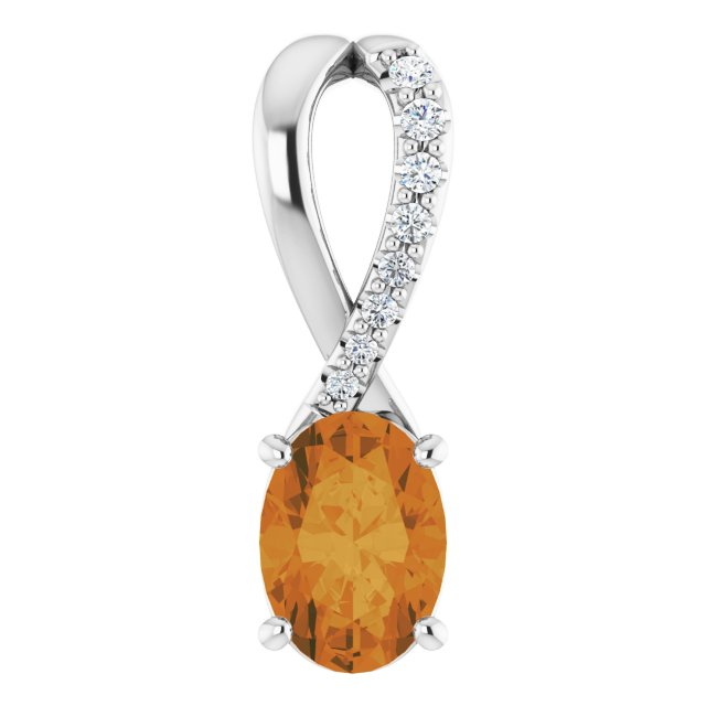 Golden Citrine Pendant in 14 Karat White Gold Citrine & .04 Carat Diamond Pendant