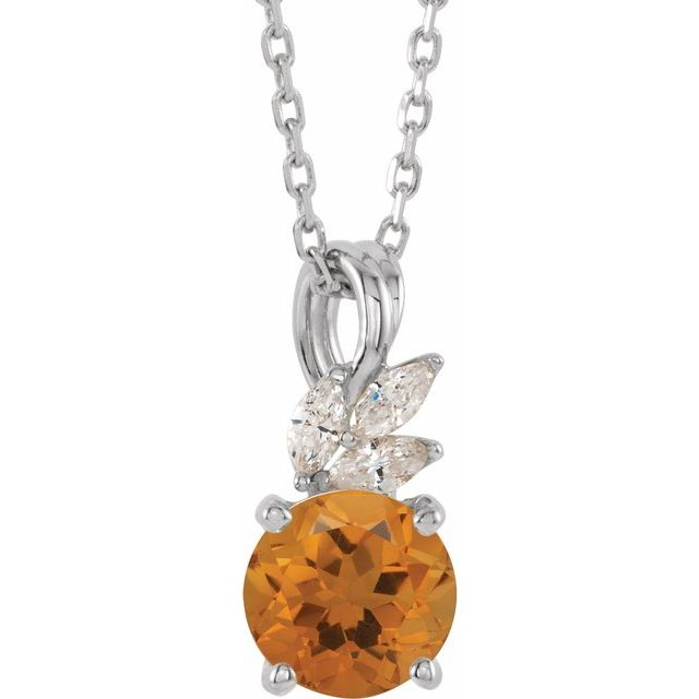 Golden Citrine Necklace in 14 Karat White Gold Citrine & 1/10 Carat Diamond 16-18