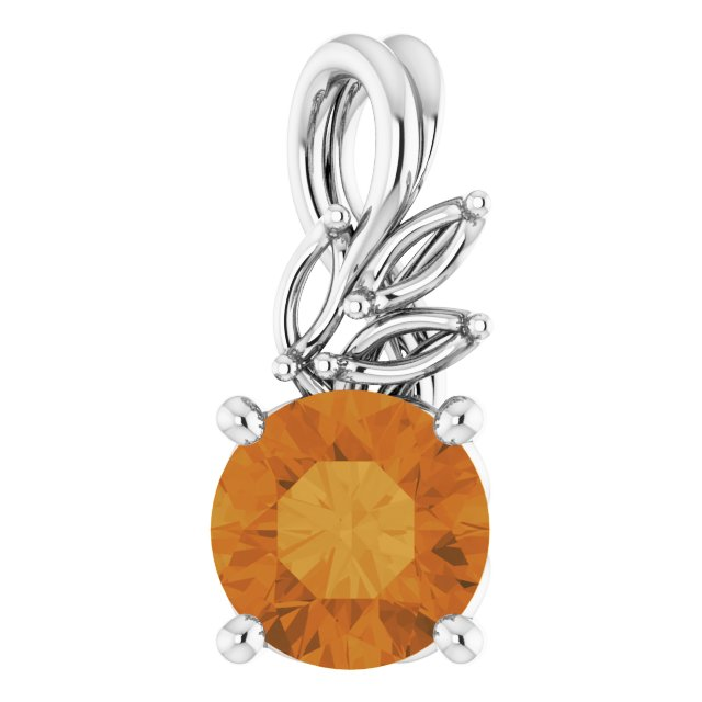 Golden Citrine Pendant in 14 Karat White Gold Citrine & 1/10 Carat Diamond Pendant