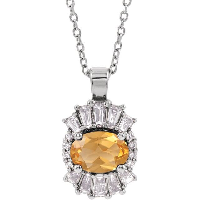 Golden Citrine Necklace in 14 Karat White Gold Citrine & 1/3 Carat Diamond 16-18