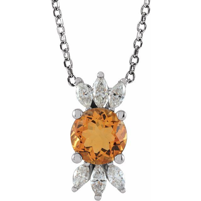 Golden Citrine Necklace in 14 Karat White Gold Citrine & 1/4 Carat Diamond 16-18