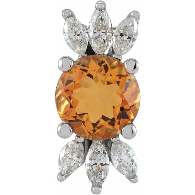 Golden Citrine Pendant in 14 Karat White Gold Citrine & 1/4 Carat Diamond Pendant