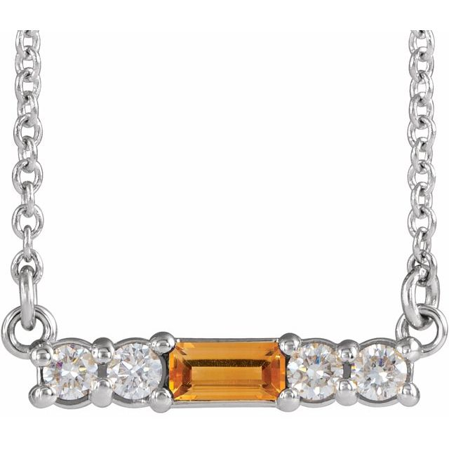 Golden Citrine Necklace in 14 Karat White Gold Citrine & 1/5 Carat Diamond 16