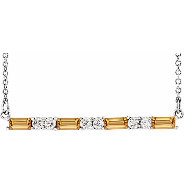 Golden Citrine Necklace in 14 Karat White Gold Citrine & 1/5 Carat Diamond Bar 16-18