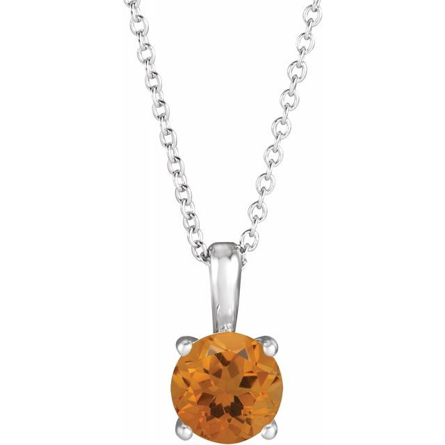 Golden Citrine Necklace in 14 Karat White Gold Citrine 16-18