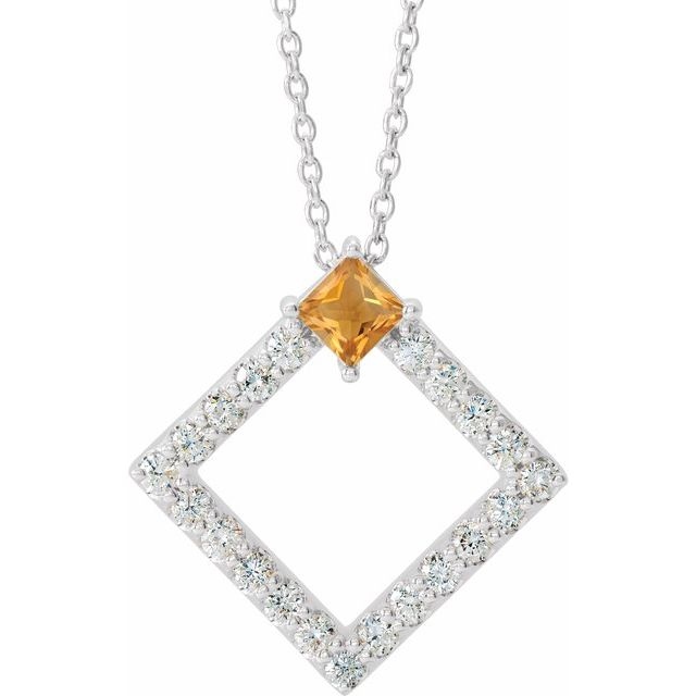 Golden Citrine Necklace in 14 Karat White Gold Citrine & 3/8 Carat Diamond 16-18