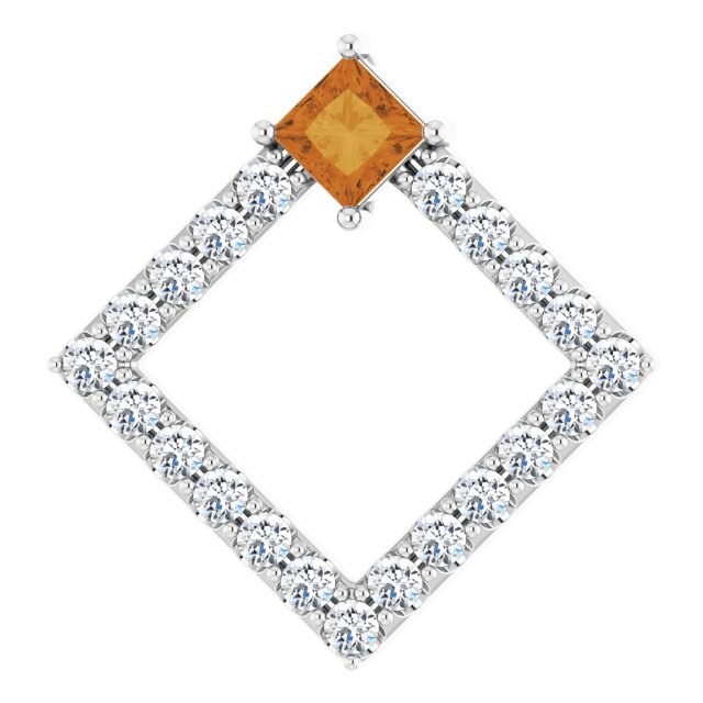 Golden Citrine Pendant in 14 Karat White Gold Citrine & 3/8 Carat Diamond Pendant