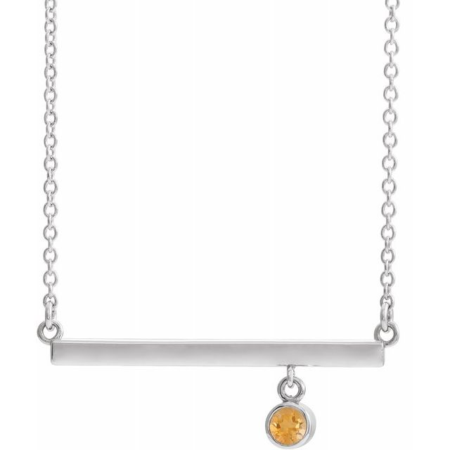 Golden Citrine Necklace in 14 Karat White Gold Citrine Bezel-Set 18