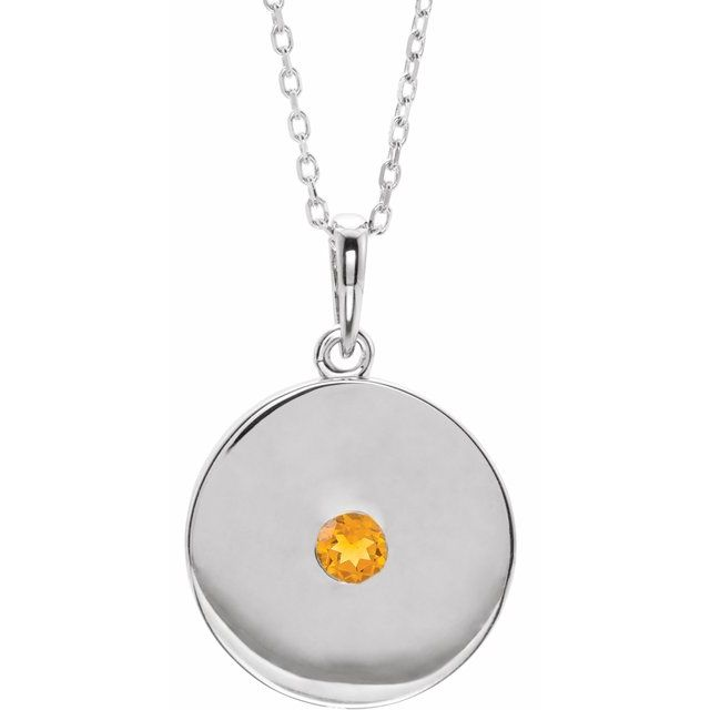 Golden Citrine Necklace in 14 Karat White Gold Citrine Disc 16-18