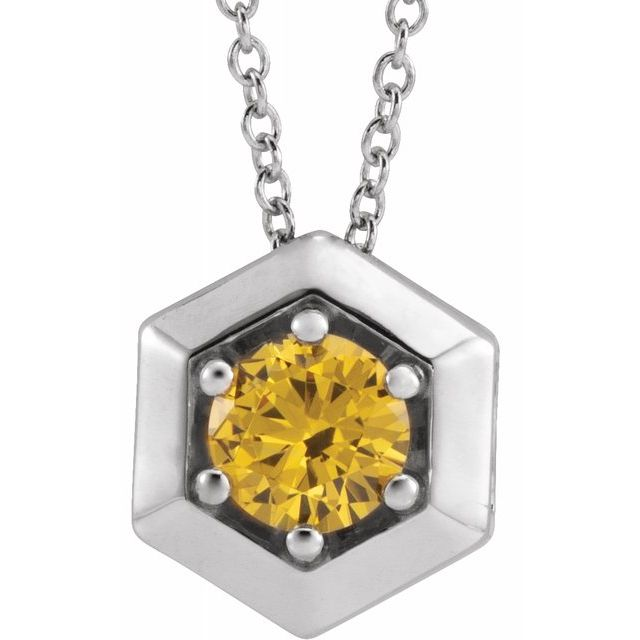 Golden Citrine Necklace in 14 Karat White Gold Citrine Geometric 16-18