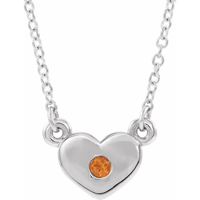 Golden Citrine Necklace in 14 Karat White Gold Citrine Heart 16