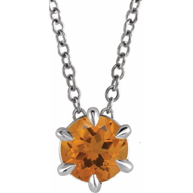 Golden Citrine Necklace in 14 Karat White Gold Citrine Solitaire 16-18