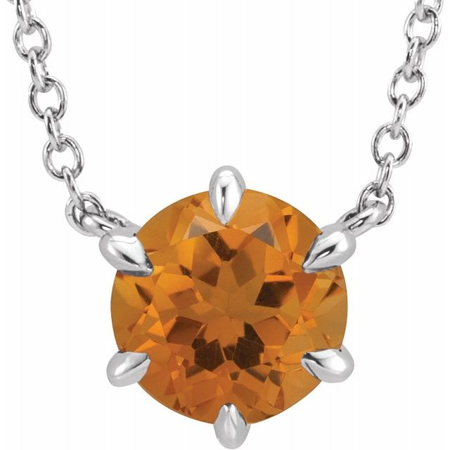 Golden Citrine Necklace in 14 Karat White Gold Citrine Solitaire 16