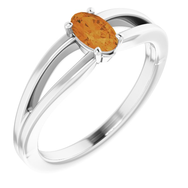 Golden Citrine Ring in 14 Karat White Gold Citrine Solitaire Youth Ring