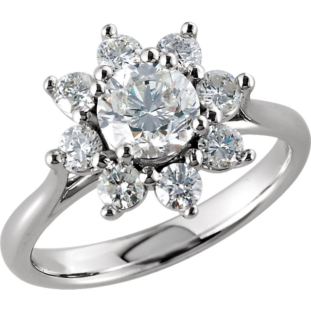 Great Deal in 14 Karat White Gold Diamond Cluster Ring
