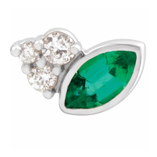 Genuine Emerald Earrings in 14 Karat White Gold Emerald & .03 Carat Diamond Right Earring