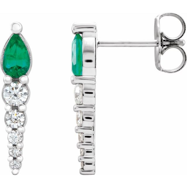 Genuine Emerald Earrings in 14 Karat White Gold Emerald & 1/4 Carat Diamond Earrings