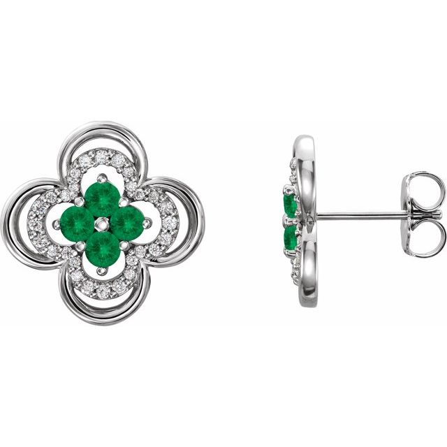 Genuine Emerald Earrings in 14 Karat White Gold Emerald & 1/5 Carat Diamond Clover Earrings